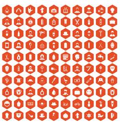 100 barber icons hexagon orange vector