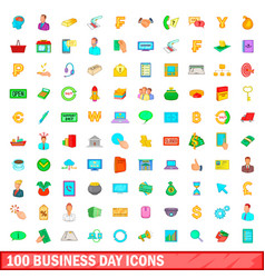 100 business day icons set cartoon style vector