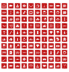 100 wealth icons set grunge red vector