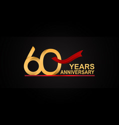 60 years anniversary design with red ribbon vector