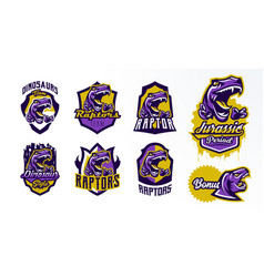 a collection of logos badges stickers dinosaur vector image