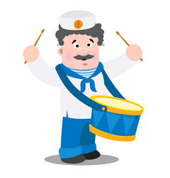 a sailor with a drum is a cartoon funny character vector image