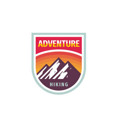 adventure mountain hiking - concept badge design vector image