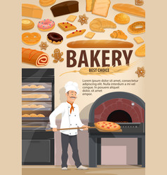 baker with pizza bakery or pastry shop vector image