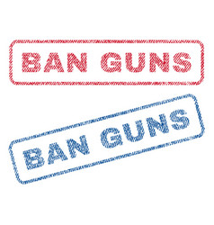 Ban guns textile stamps vector