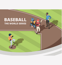 baseball field sport team players playing vector image