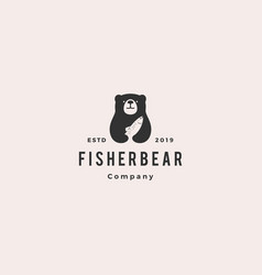 bear fish salmon logo hipster retro vintage icon vector image