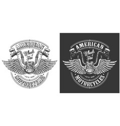 biker emblem with wings vector image