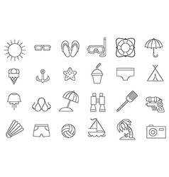 black resort icons set vector image