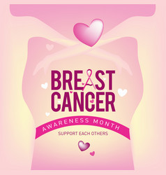 Breast cancer awareness month card pink ribbon vector
