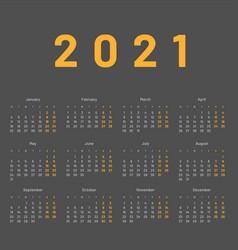 Calendar for 2021 week starts on monday vector