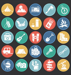 camping icons set on color circles black vector image