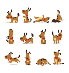 Cartoon dog set dogs tricks and action digging vector