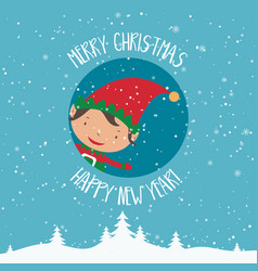 Cartoon for holiday theme with elf on winter vector