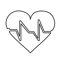 Cartoon heart and cardiogram icon image vector