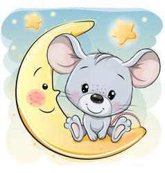 Cartoon mouse is sitting on moon vector