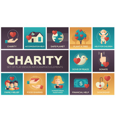 Charity - set of flat design infographics elements vector