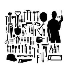 construction tools silhouette vector image