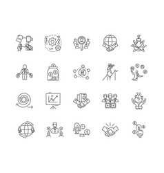 Crm line icons signs set outline vector