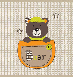 Cute bear in the pocket vector