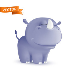 cute standing and squinting cartoon barhino vector image