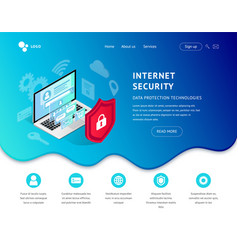 data protection landing page blue icon vector image