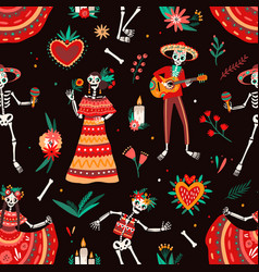 day of the dead motley seamless pattern with vector image