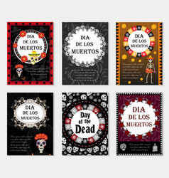 day of the dead set flyer poster invitation with vector image