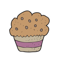 digitally drawn cup cake design hand drawing style vector image
