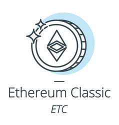 Ethereum classic cryptocurrency coin line icon of vector