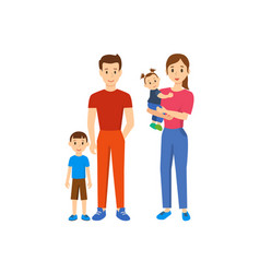 Family of four father mother son baby daughter vector