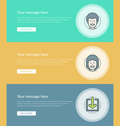Flat line business concept web site banners set vector