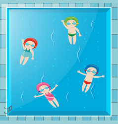 Four kids swimming in the pool vector