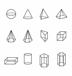 geometric solids set vector image