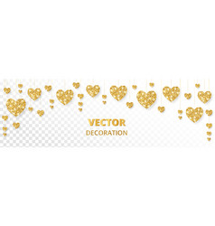 golden hearts frame border glitter vector image