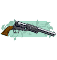 Graphic detailed old gray revolver vector