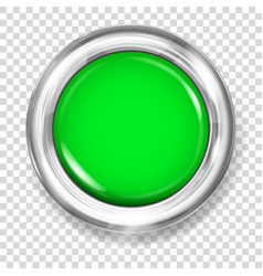 Green plastic button vector