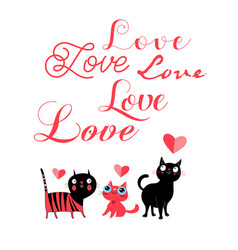 greeting card cats in love and inscription vector image