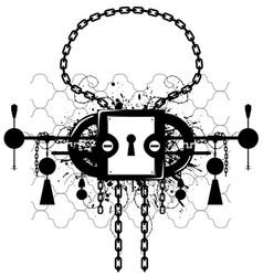 Grunge lock emblem vector