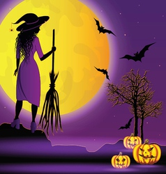 halloween background with young witch vector image