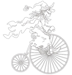 Halloween witch cycling vector