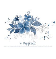 Hand drawn beautiful blue flowers blossom with vector