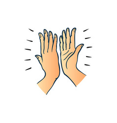 Hand gesture of two people giving each other high vector