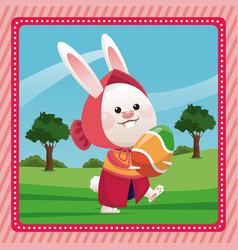 Happy easter girl bunny egg pink frame vector