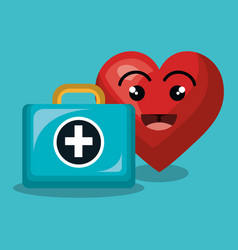 Heart character healthcare icon vector