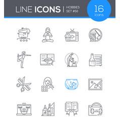 hobbies - modern line design style icon set vector image