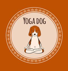 Image a cartoon funny dog beagle sitting vector