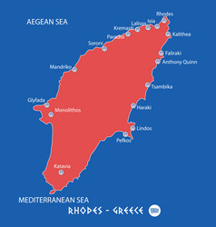 island of rhodes in greece red map vector image