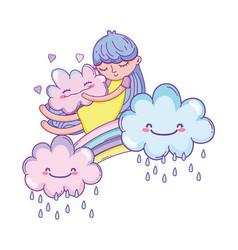 Kid on rainbow and clouds cartoon vector