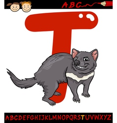 letter t for tasmanian devil cartoon vector image